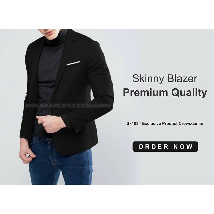 Blazerpria Jas Cowok Formal Casual Blazer Artisblazerjaket Crowsdenim Black Pria Sk85 Shopee Indonesia
