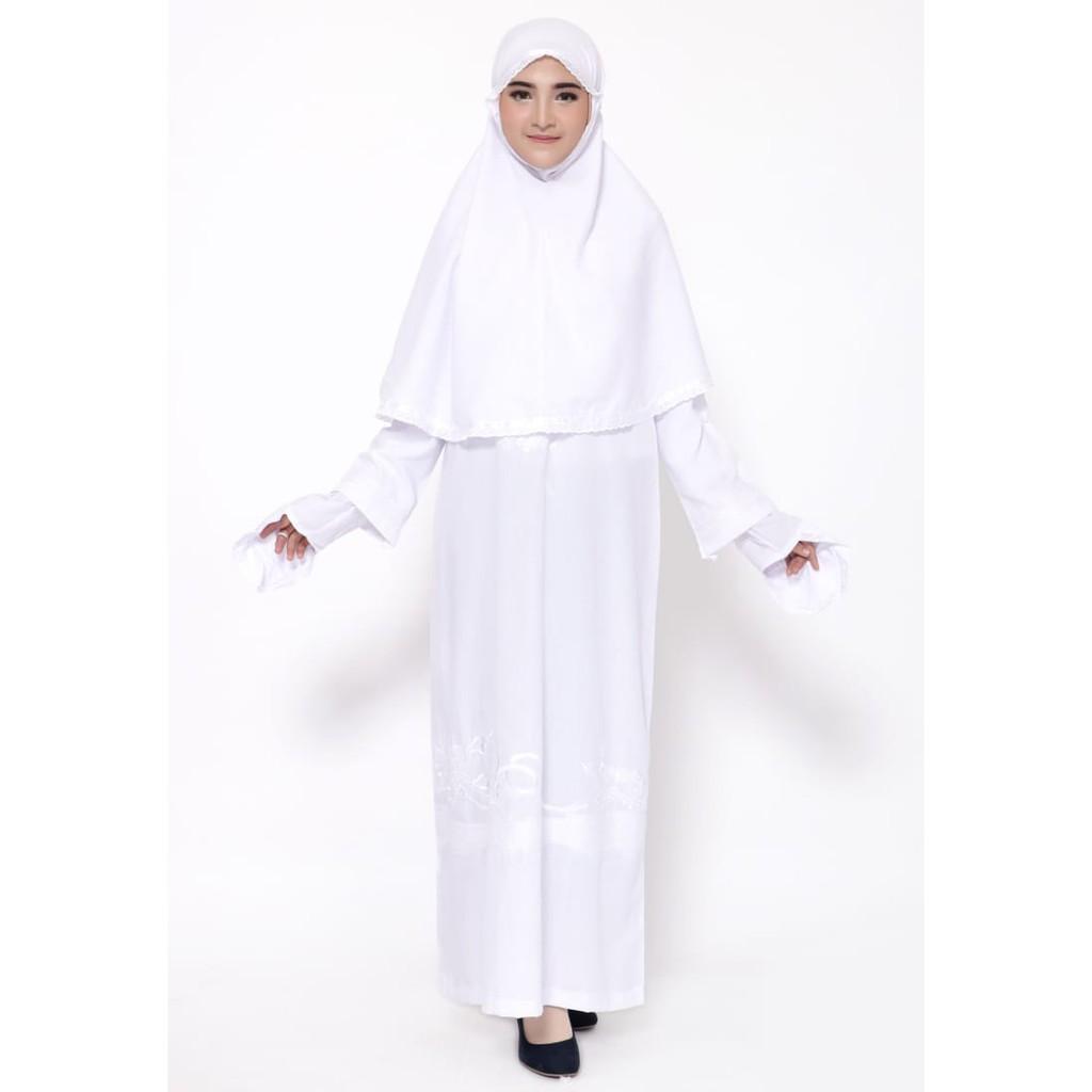 baju ihrom wanita lengkap / gamis ihram / perlengkapan haji dan umroh /  gamis putih
