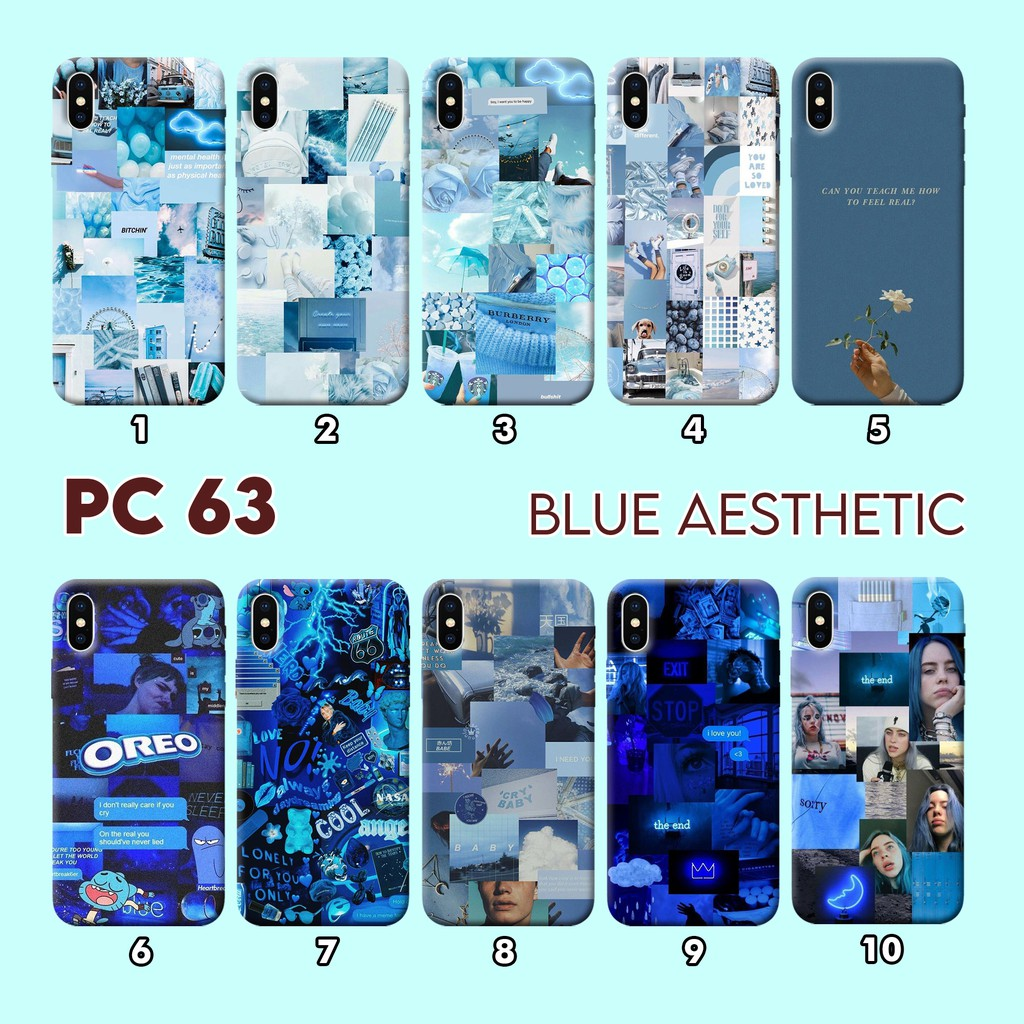 Pc63 Hard Case 3d Fullprint Blue Aesthetic All Type Smartphone Murah Shopee Indonesia