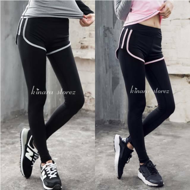 Kinarastorez Celana Olahraga Panjang Hotpant 2in1 Legging Sport Dua Lapis Gym Fitness Senam Wanita Shopee Indonesia
