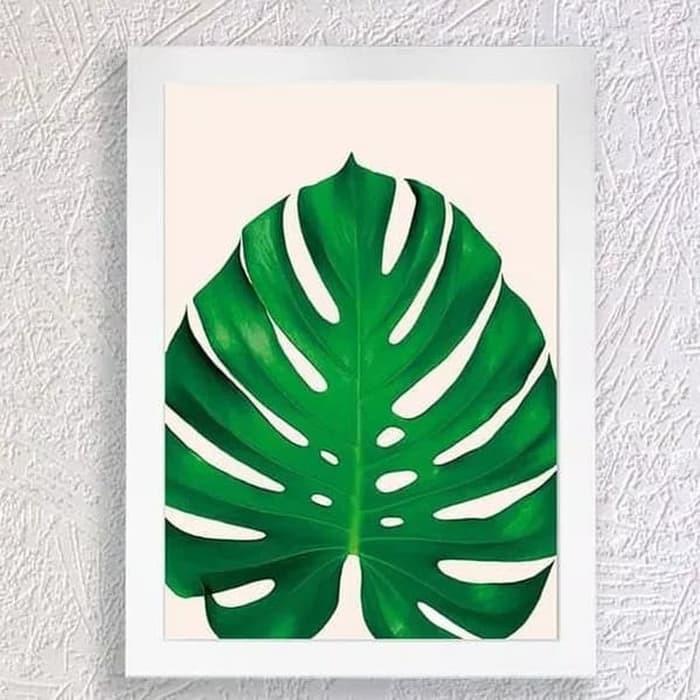 Poster Premium Dekorasi Dinding Rumah Lukisan Daun Monstera Cantik