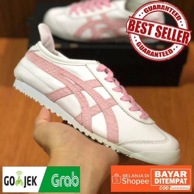 Cod Sepatu Onitsuka Tiger Wanita Mexico 66 White Pink Sneakers