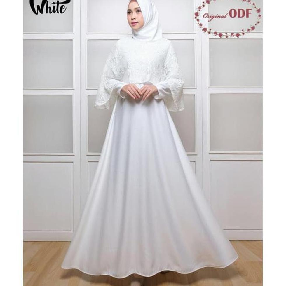 Terbaru Baju Gamis Akad Pernikahan Pesta Brokat Marsya Polos Warna Putih