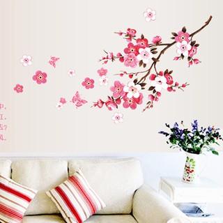Kamar persik mekar bunga kupu-kupu Stiker Vinyl seni dinding Decals Decor Mural