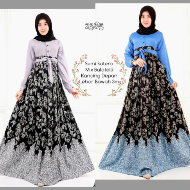 2365 Gamis semi sutera/ dress bahan batik semi sutera mix balotelli | Shopee Indonesia