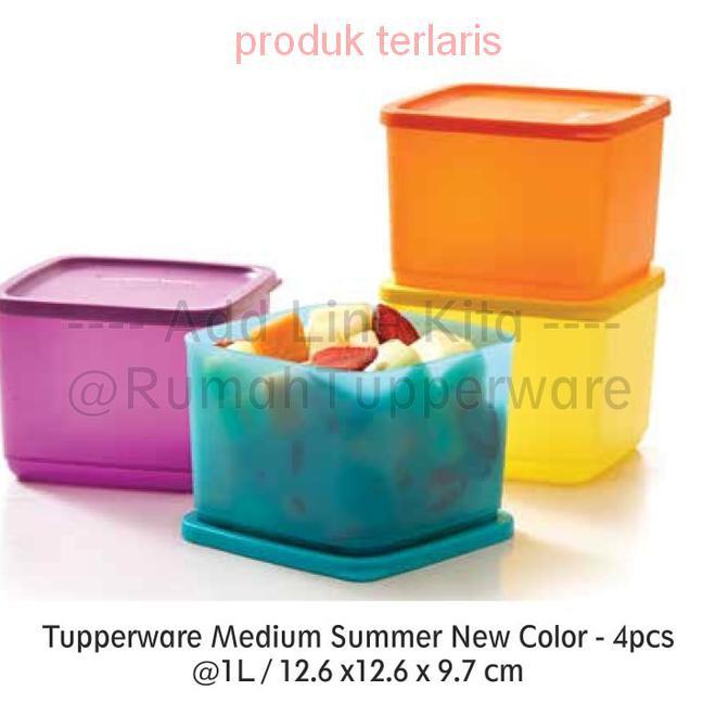 Peralatan Makan/Tupperware Medium Summer Fresh (4) Kotak Makan Segi | Shopee Indonesia