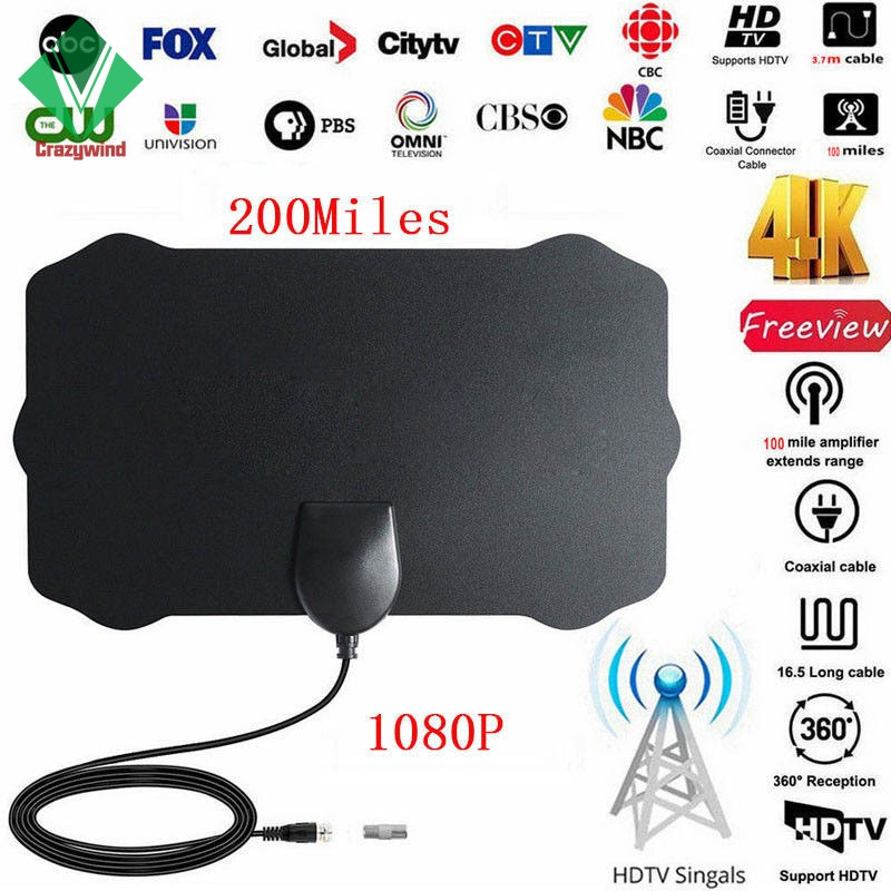 Indoor Antenna TV Digital HD Skywire HDTV 1080p Sky Link Cable US 200 Mile Range