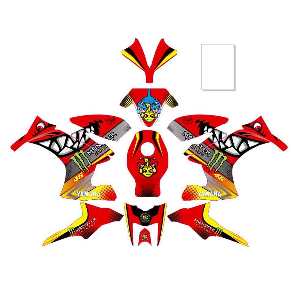 Original Decal Striping Motor Yamaha Fino Motif Samurai X Red Sticker Shopee Indonesia