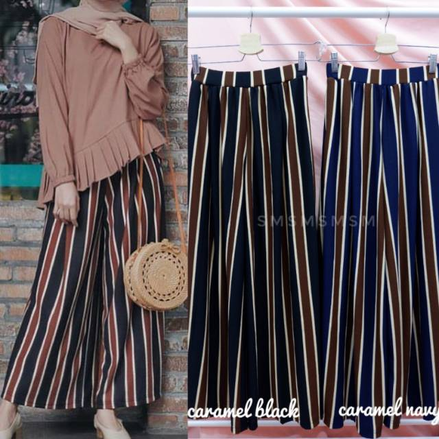 Norway Cullote Stripe Pants Stripe Cullotes Import Kulot Salur Kulot