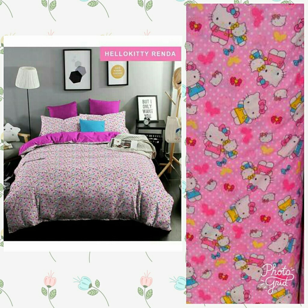 Sprei Katun Fortuna Hello Kitty Cute Pink Shopee Indonesia Jepang Orchid