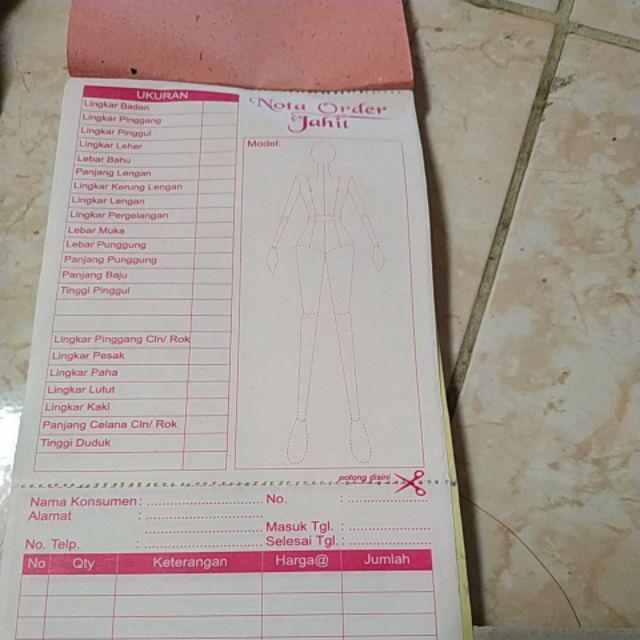 Nota Order Jahit Atau Nota Untuk Penjahit