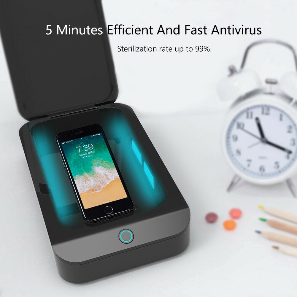 Phone UV Sanitizer,Portable UV Light Cell Phone Sterilizer Smartphone Cleaner Function Disinfector for iPhone Android Moblie Phone Toothbrush Salon Tools Jewelry Watches