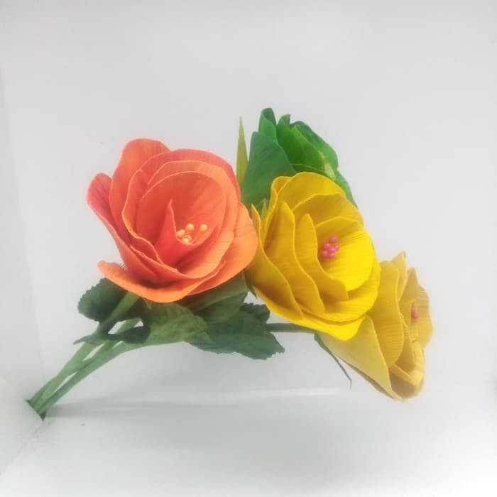 Bunga Camellia Tangkai Kulit Jagung Klobot Shopee Indonesia