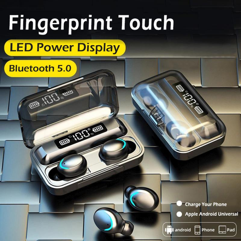 Earphone Bluetooth New Upgrade F9 5 Led Display Tws 5 0 Smart Touch Bluetooth Earphone Wireless Earbuds Shopee Indonesia