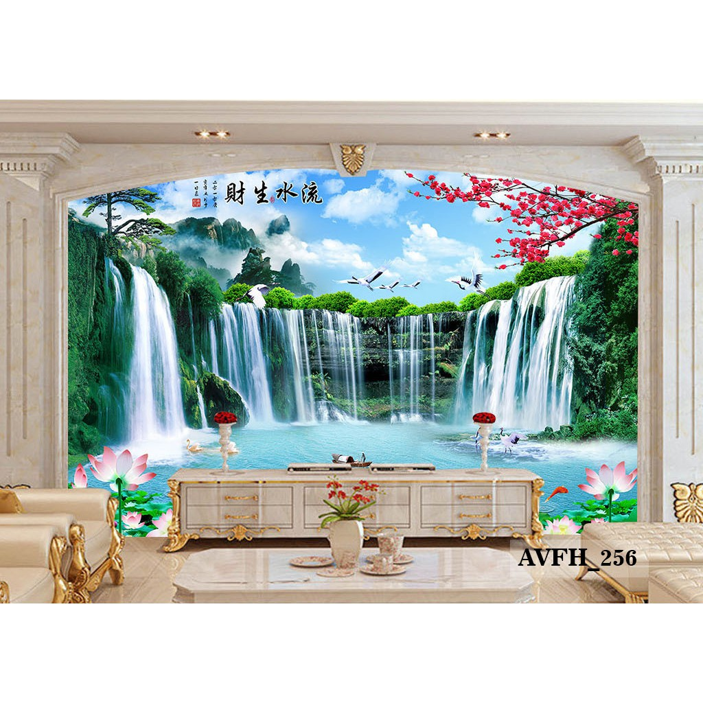 Wallpaper Dinding Custom 3D Air Terjun Wallpaper Custom 3D Murah