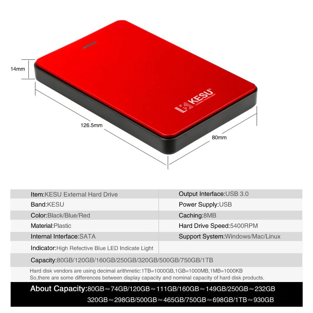 "H-1 2.5/"" 2.5 HDD 500GB 1TB 2TB USB 3.0 Laptop Mobile Hard Drive For Windows Mac"