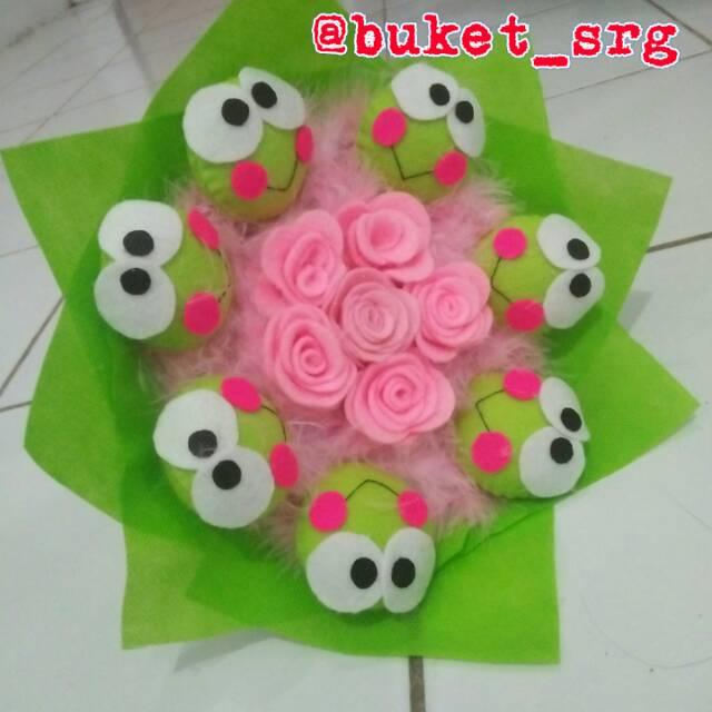 Buket Bouquet Flanel Karakter Keropi Keroppi Murah Hadiah Kado Wisuda Graduation Shopee Indonesia