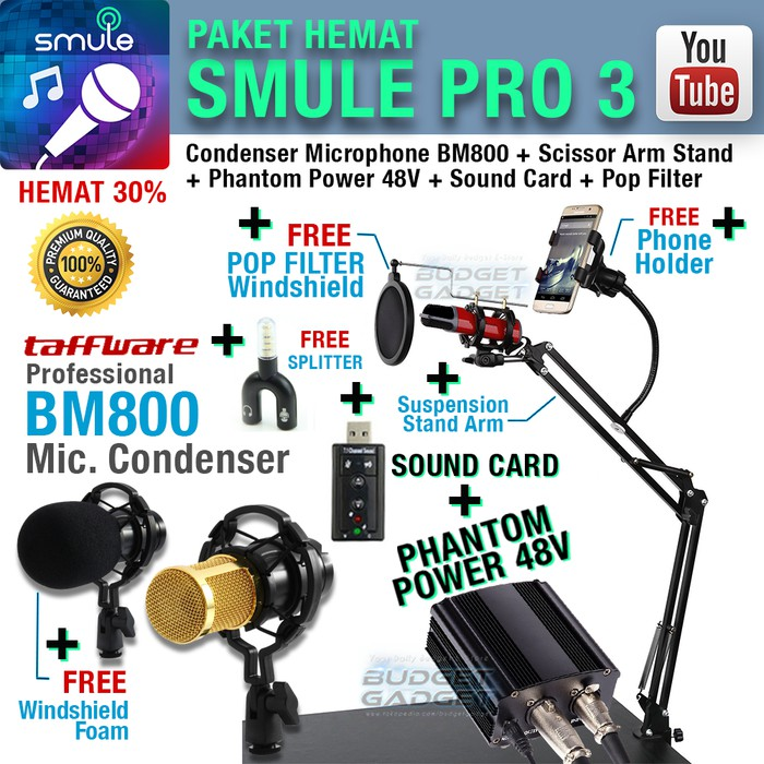 BG- Super Murah! Paket SMULE PRO 3 Mic BM800 Arm Stand + Phantom Power 48V  + Sound Card Murah!