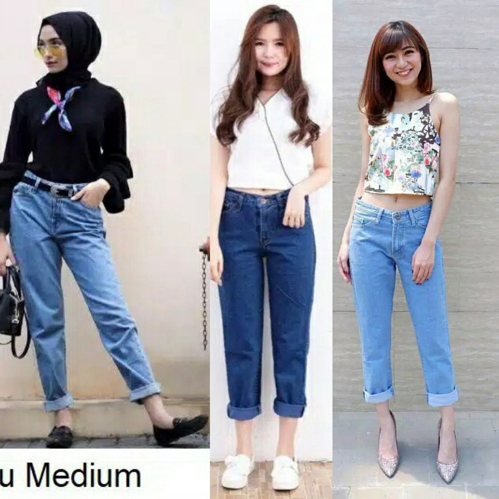 Celana Jeans Wanita Bf Celana Jeans Boyfriend 3 Warna Celana Wanita Kekinian Shopee Indonesia