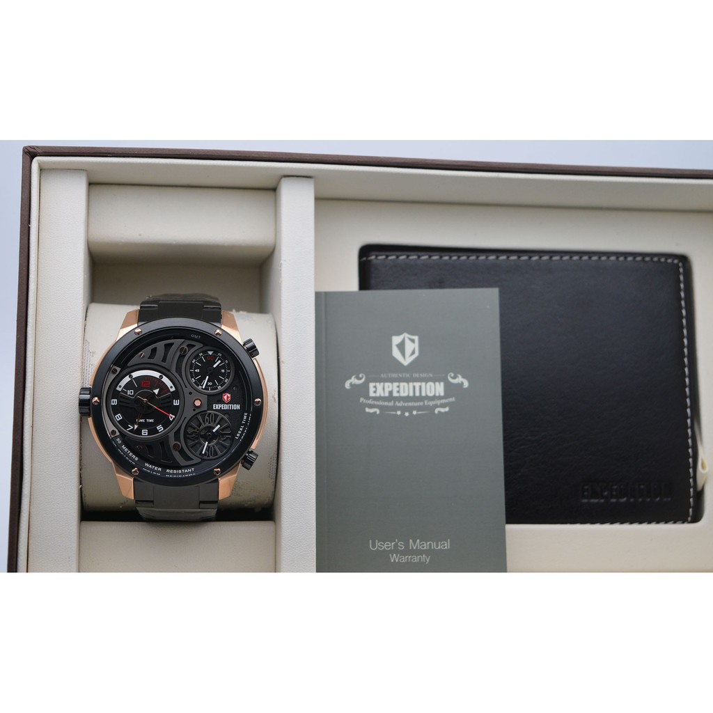 Expedition E6742 Limited Edition Rose Gold Black For Men Original Jam Tangan Pria E6715 Free Dompet Shopee Indonesia