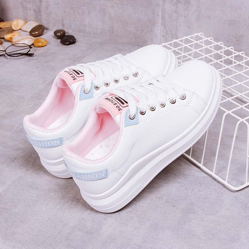 Sepatu Sneakers Wanita Sol Tebal 4cm 2019 Warna Putih Gaya Korea