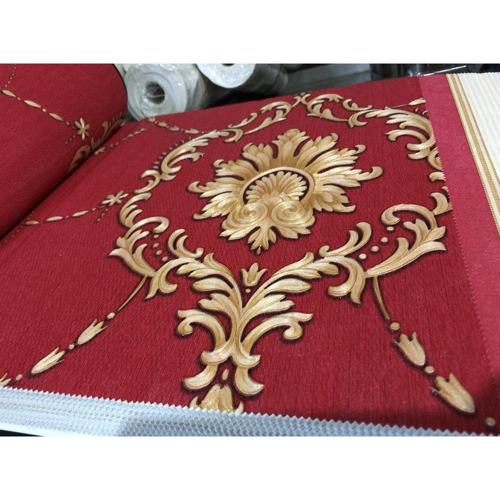 Ready Stock Wallpaper Dinding Klasik Merah Hitam Gold Elegan