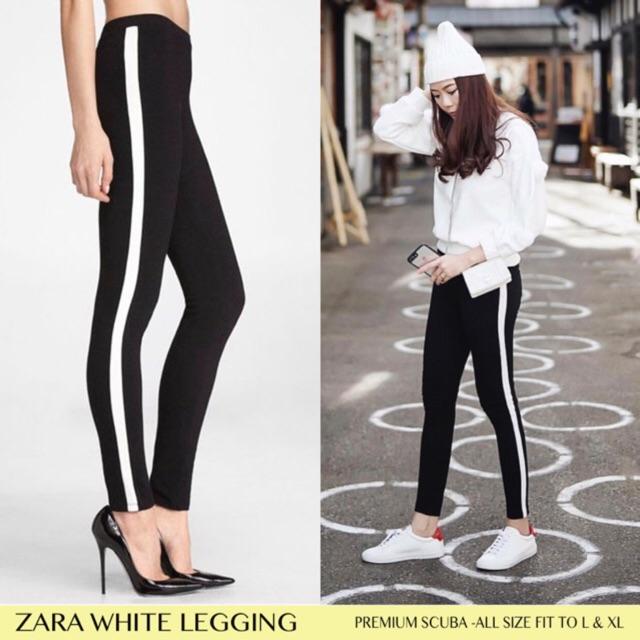 Bisa Cod Zara Stripe Legging Scuba Premium Celana Panjang Hitam Wanita Murah Shopee Indonesia