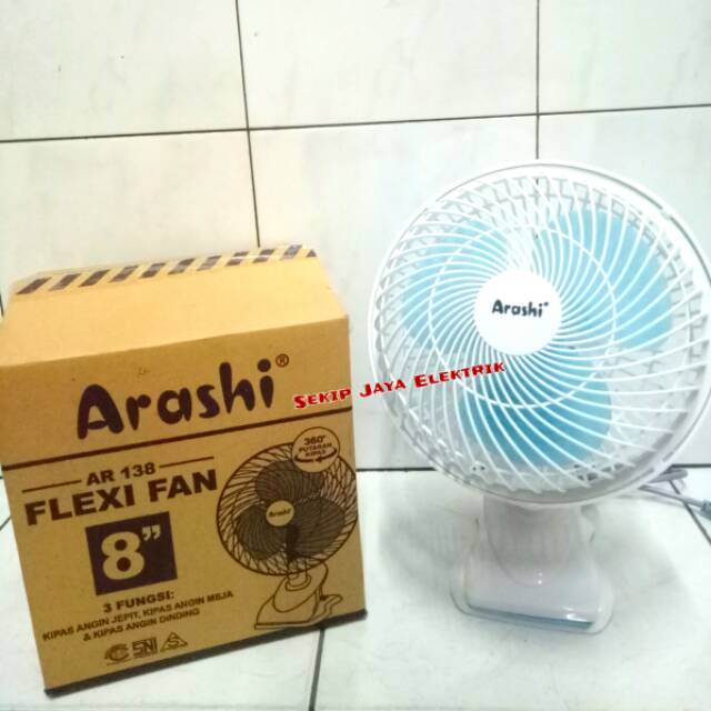 "Kipas Angin Jepit Meja Dinding Arashi Flexi Fan 8"" AR 138 Bisa Rotating Berputar | Shopee Indonesia"