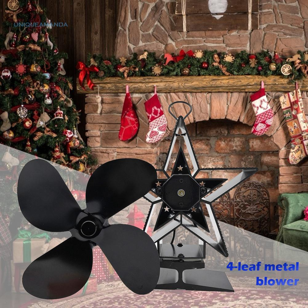 4 Blade Heat Powered Fireplace Stove Fan Wood Burner Home Efficient Eco Friendly Quiet Fan Shopee Indonesia