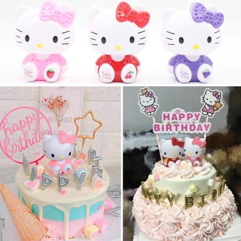 Topper Kue Cupcake Desain Hello Kitty Untuk Pesta Ulang Tahun Anak Perempuan