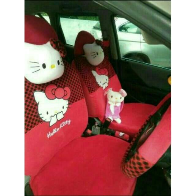 Sarung Jok Mobil Mobil Hello Kitty 18 in 1 Bantal Mobil 18in1 HK - Merah/Putih Polkadot (2 Baris)   Shopee Indonesia