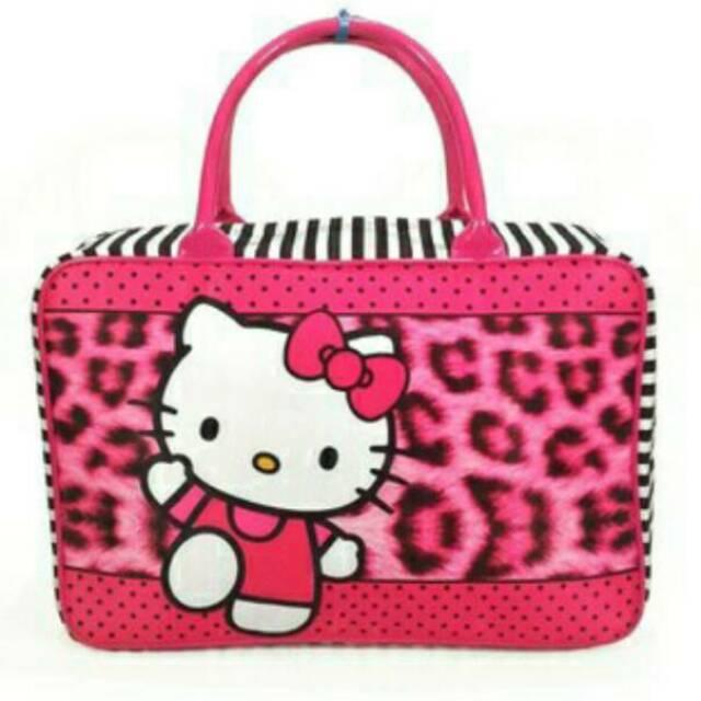 Tas travel bag kanvas Hello Kitty Pink Pita Polkadot / Tas renang piknik koper jinjing helo kity | Shopee Indonesia