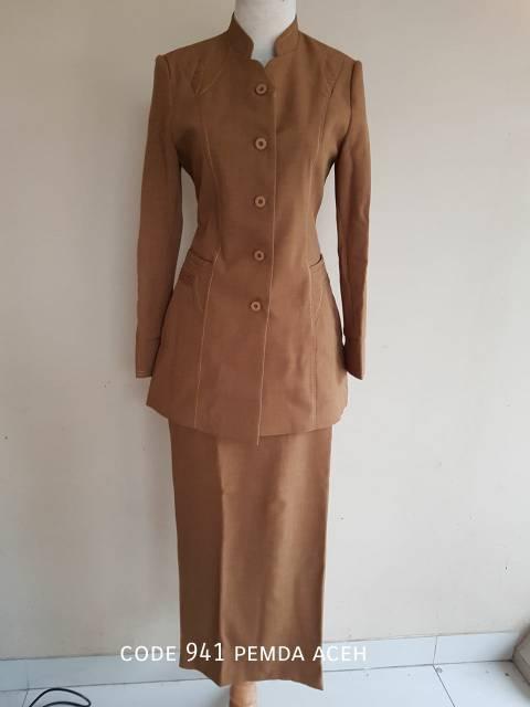 Baju Blazer Seragam Pemda Aceh Coklat Tua Muslim Panjang Dinas Guru Kantor Wanita Murah Pns