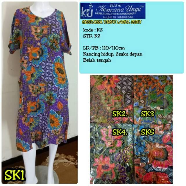 Longdress Batik Kencana Ungu Asli LD 19 Label Biru 3 Kancing ... 3ab4102bcc