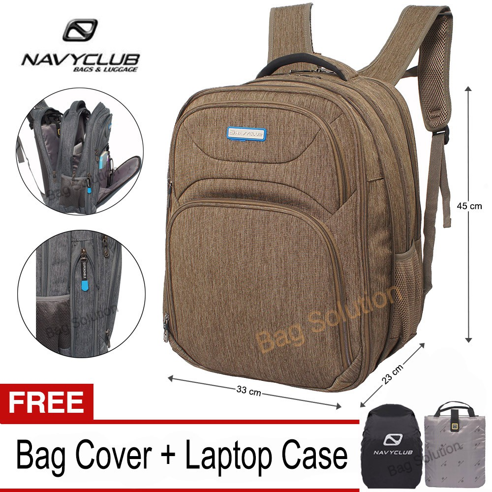 Navy Club Tas Ransel Laptop 5931 Backpack Expandable Upto 15 Inch - Bonus Bag  Cover + Laptop Case  813f36430d5eb