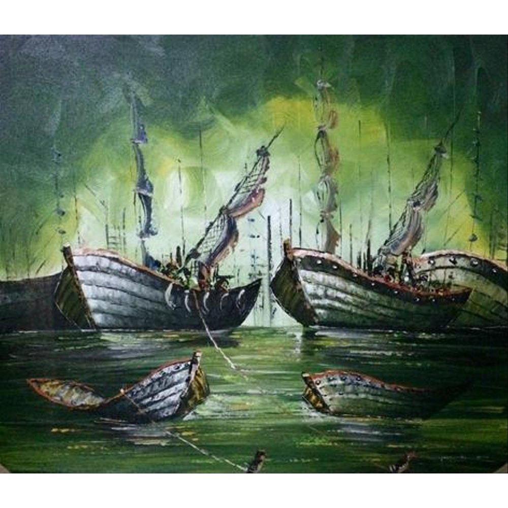 Lukisan Perahu Abstrack MTC008 BALI PAINTING Suku Cadang