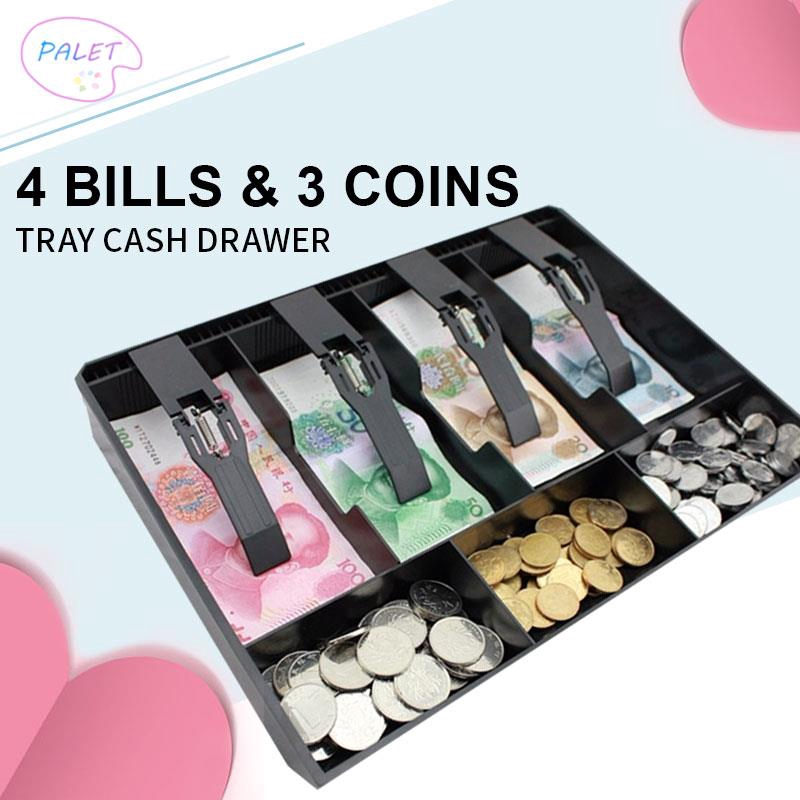 Cash Coin Register Replacement Money Drawer Storage Box With 4 Bill 3 Coin Tray