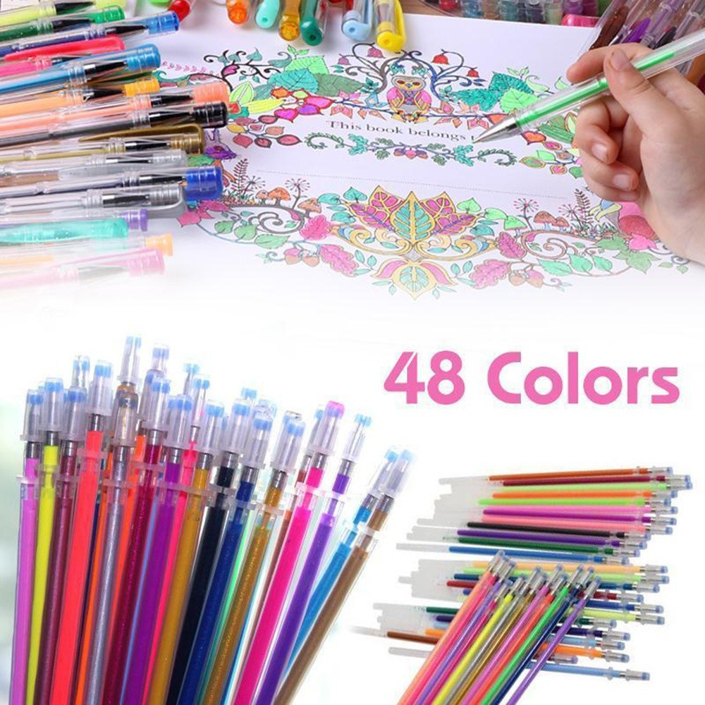 12//24//36//48 COLOR GEL PENS GLITTER COLORING DRAWING PAINTING CRAFT MARKERS Fancy