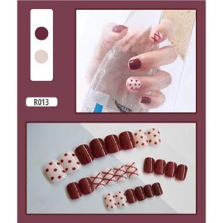 24pcs Kuku Palsu Warna Merah Putih Dengan Lem R013 thumbnail