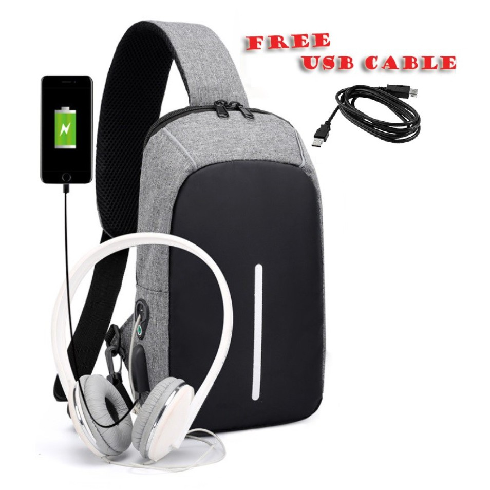 Tas Slempang Selempang Anti Air Kanvas SPEN USB Charger Sling Bag Canvas Vr2 Waterproof | Shopee Indonesia