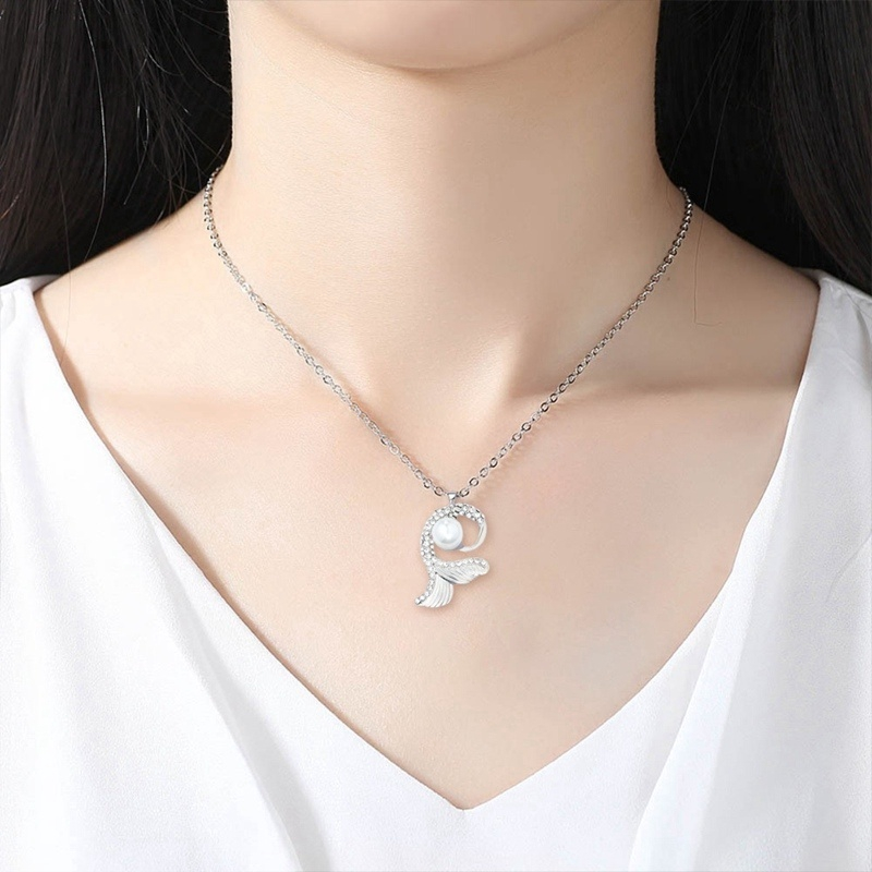 Women Silver Tone Two Dragons Playing Pearl Necklace Pendant Jewelry 50cm