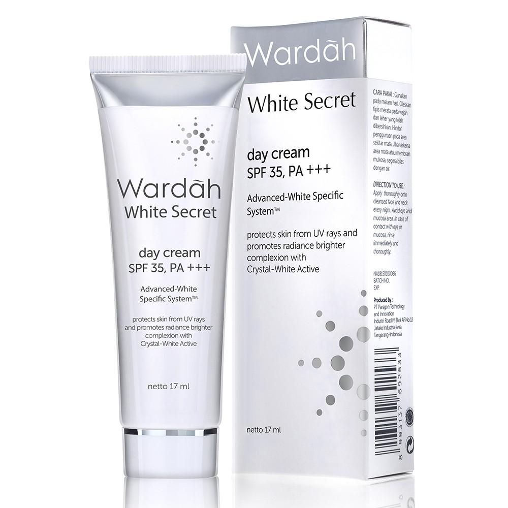 Deoonard 7 Days Whitening Cream Krim Pemutih Wajah: [Kecil] WARDAH White Secret DAY Cream 17ml SPF 35, PA