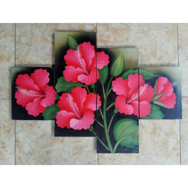 Lukisan Bunga Kembang Sepatu Merah Shopee Indonesia