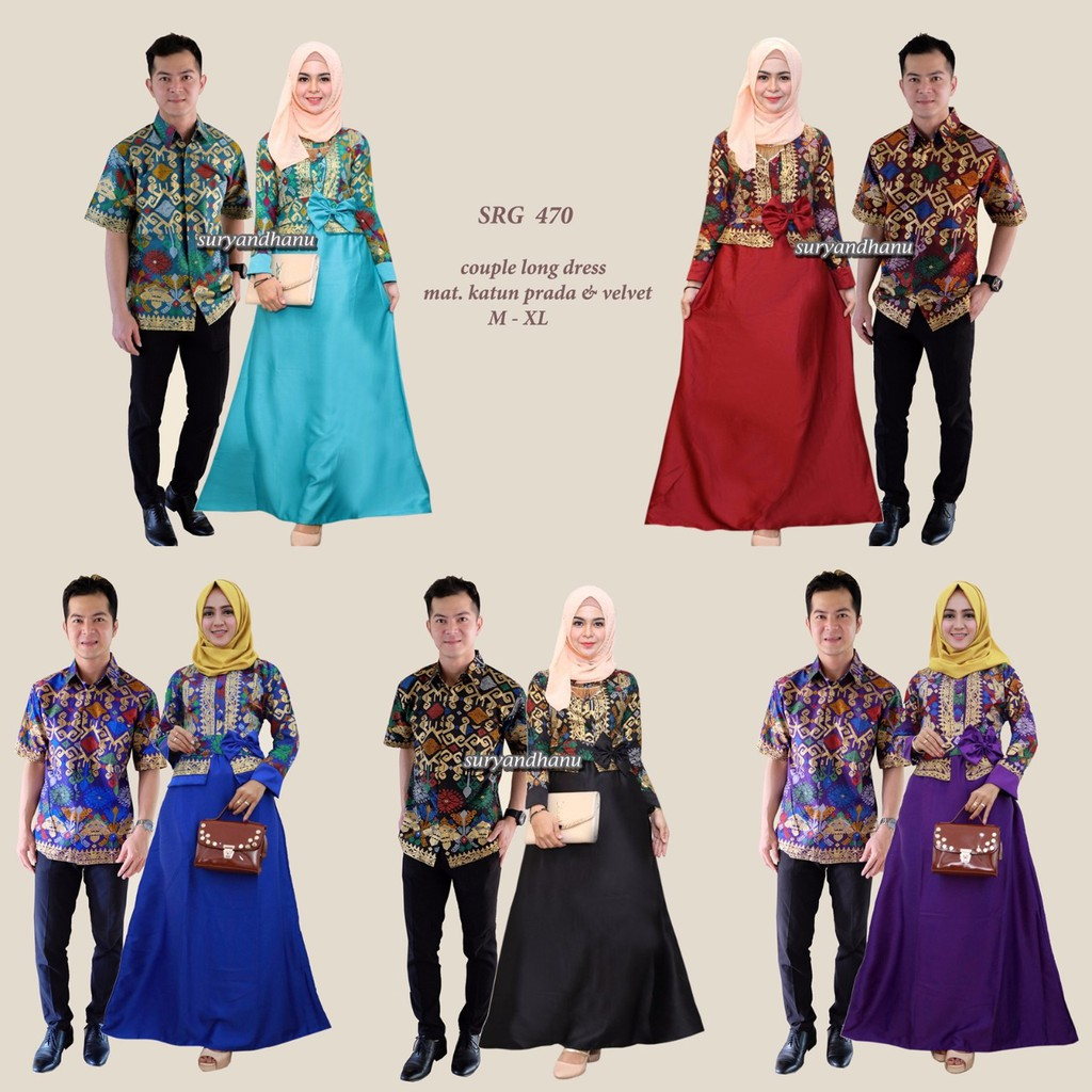SRG 470 Couple Sarimbit Batik Long Dress Terusan Gamis Klok Seragam Pesta  2a7219dd77