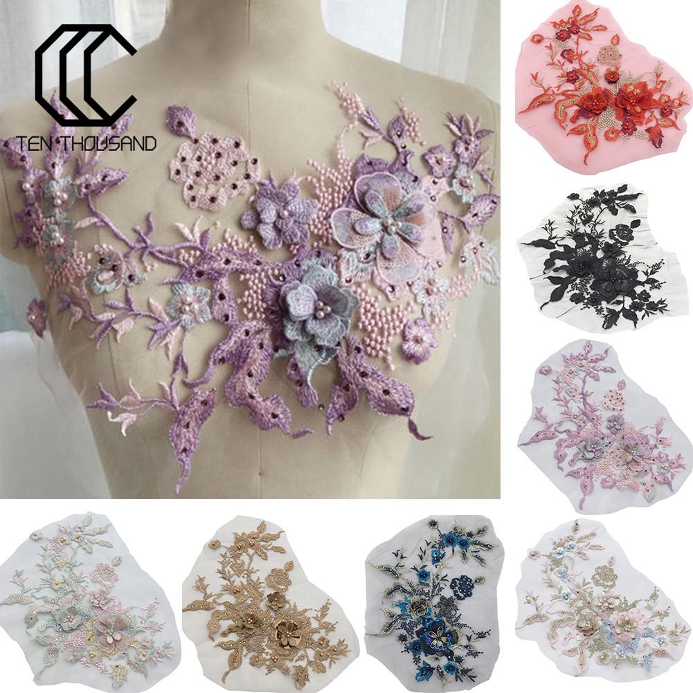 Renda Bordir Bunga 10d Aksen Manik-Manik Berlian Imitasi Bahan Tulle Untuk  Dekorasi Gaun Pernikahan