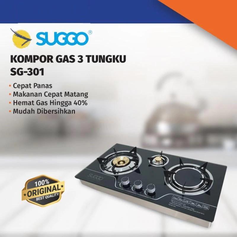 Kompor Tanam SUGGO 3 Tungku SG-301/Kompor Tanam 3 Tungku SUGGO/Kompor Kaca Bara Infrared 3 tungku