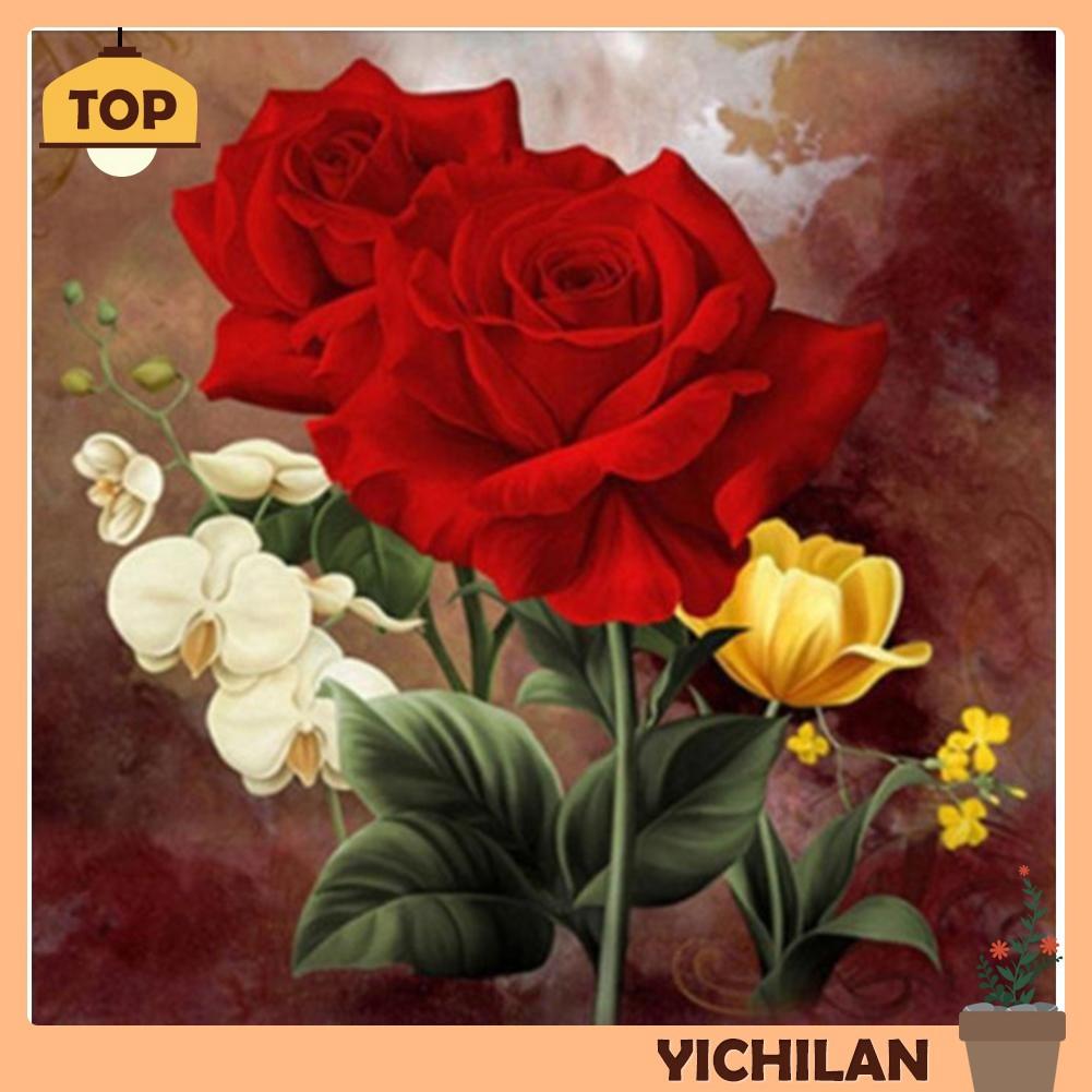 [yilan] Lukisan Diamond 5D Sulam Gambar Bunga Mawar Merah DIY Untuk Dekorasi Rumah