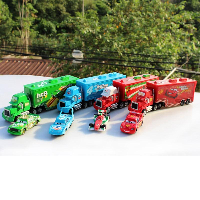 Disney Pixar Cars 2 Toys 2pcs Lightning Mcqueen Mack Truck The King Toys Shopee Indonesia