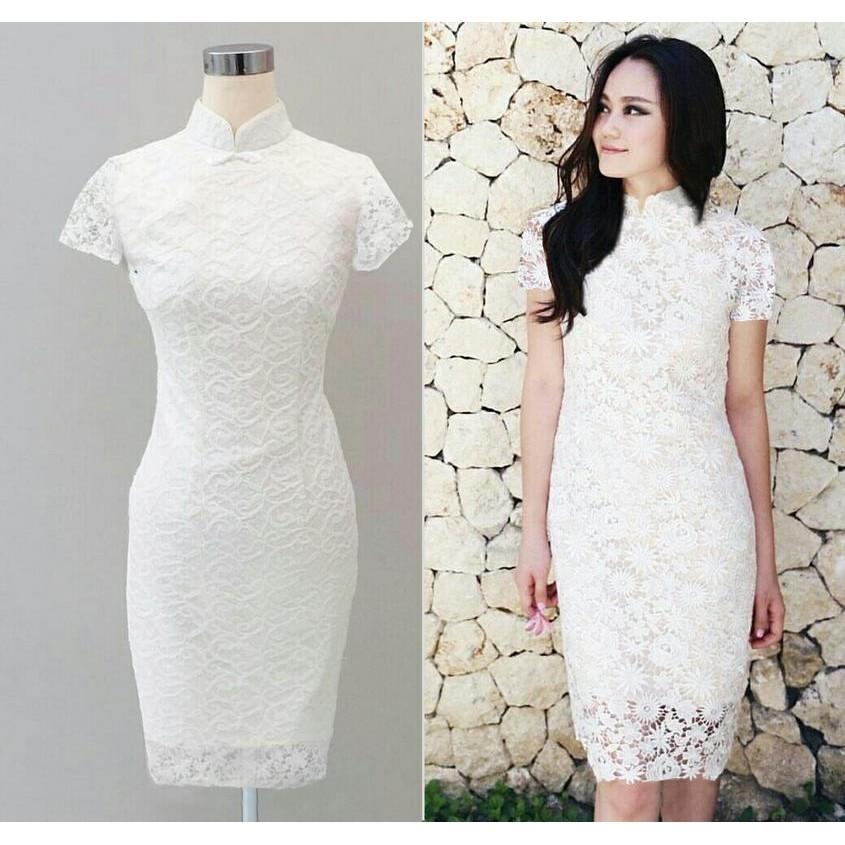 PAKAIAN WANITA YUMI DRESS PUTIH | ATASAN WANITA I PAKAIAN SANTAI I SPANDEK I GROSIR I TANAH ABANG | Shopee Indonesia