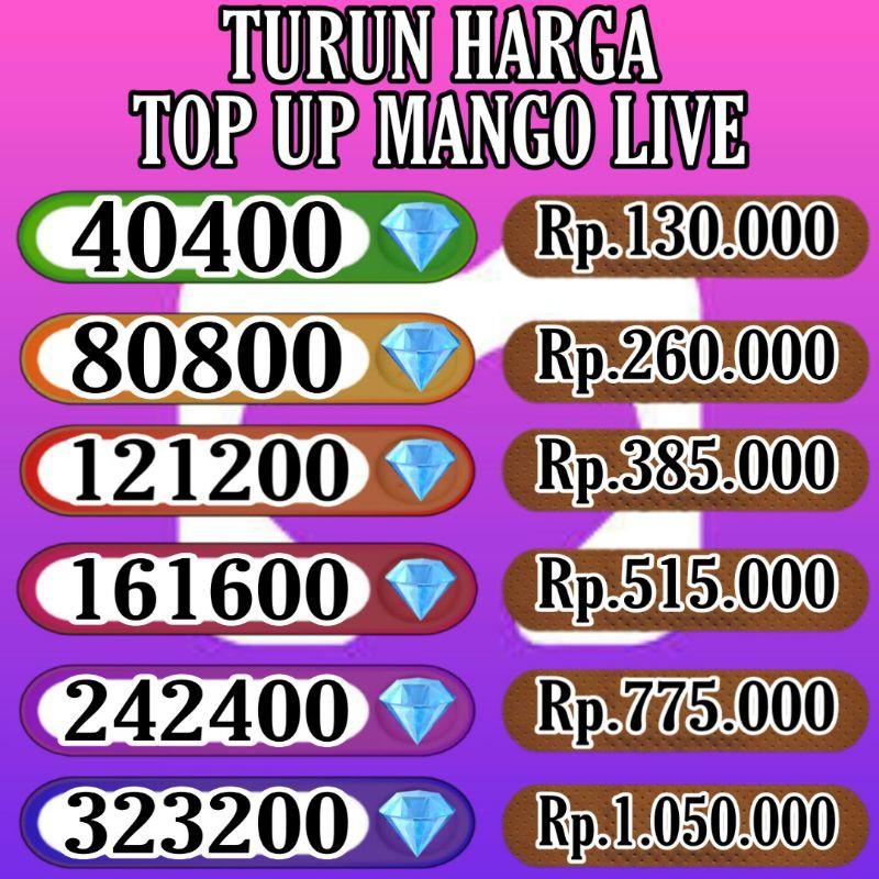 TERMURAH   Top up mango live via id   Topup Mango ungu
